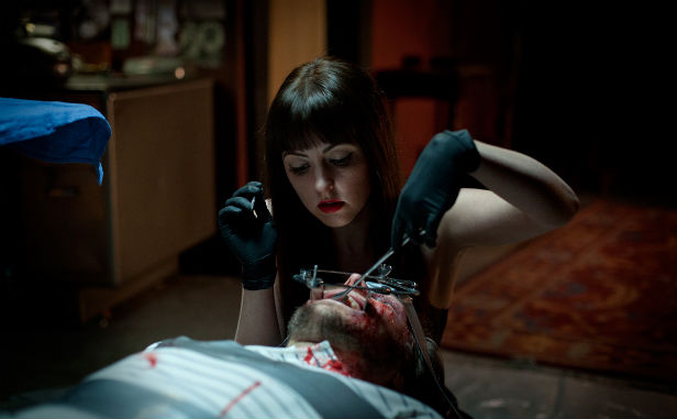 Katharine Isabelle making some modifications in American Mary