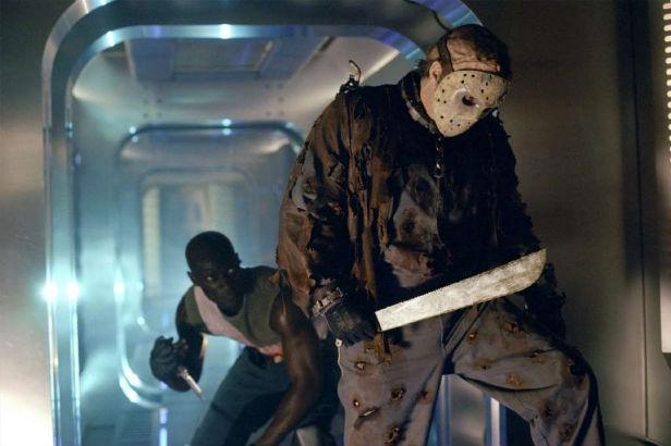 Jason hacking and slashing in space in Jason X