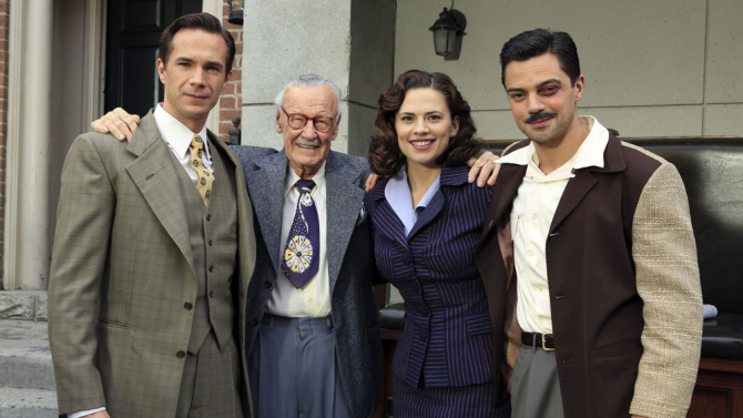 Stan Lee with the cast of Marvel's Agent Carter