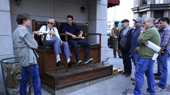 Stan Lee filming his Agent Carter cameo with Dominic Cooper
