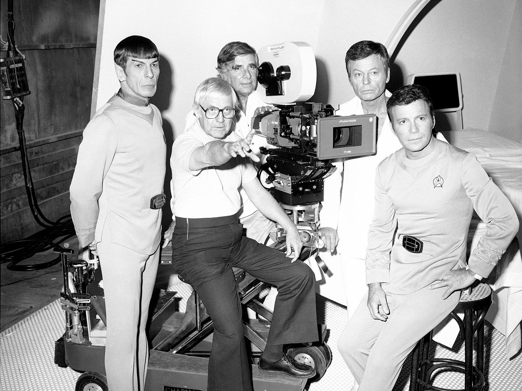 Nimoy, director Robert Wise, producer Gene Roddenberry, Deforest Kelley and William Shatner on the set of Star Trek: The Movie