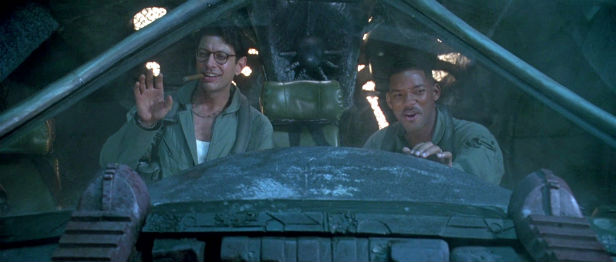 Jeff Goldblum and Will Smith celebrating in Independence Day