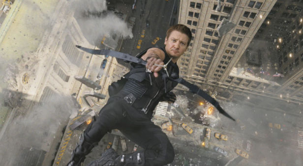 Jeremy Renner's Hawkeye taking a dive in The Avengers