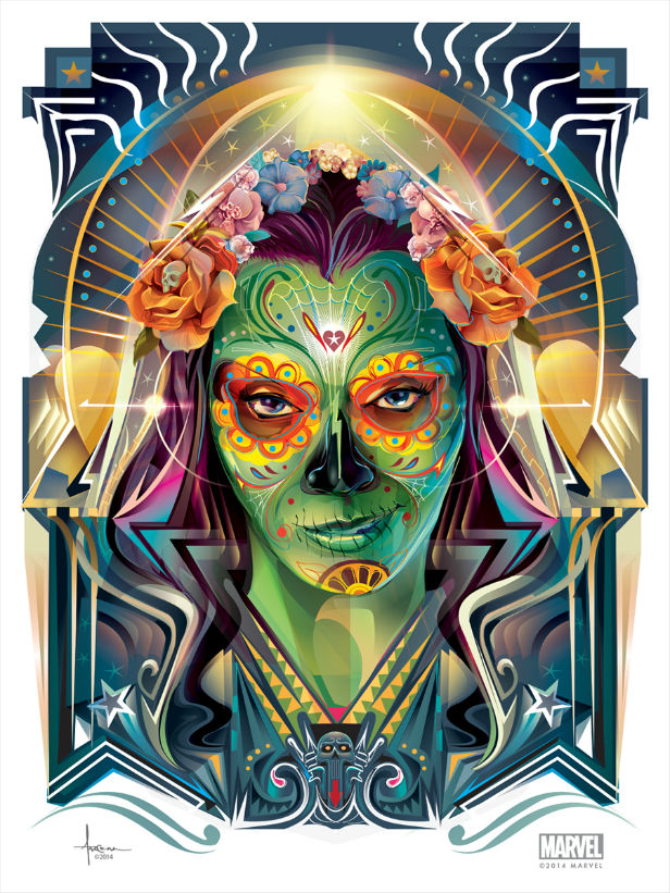 Orlando designed this awesome Day Of The Dead-style Gamora poster for Guardians Of The Galaxy's Blu-ray release