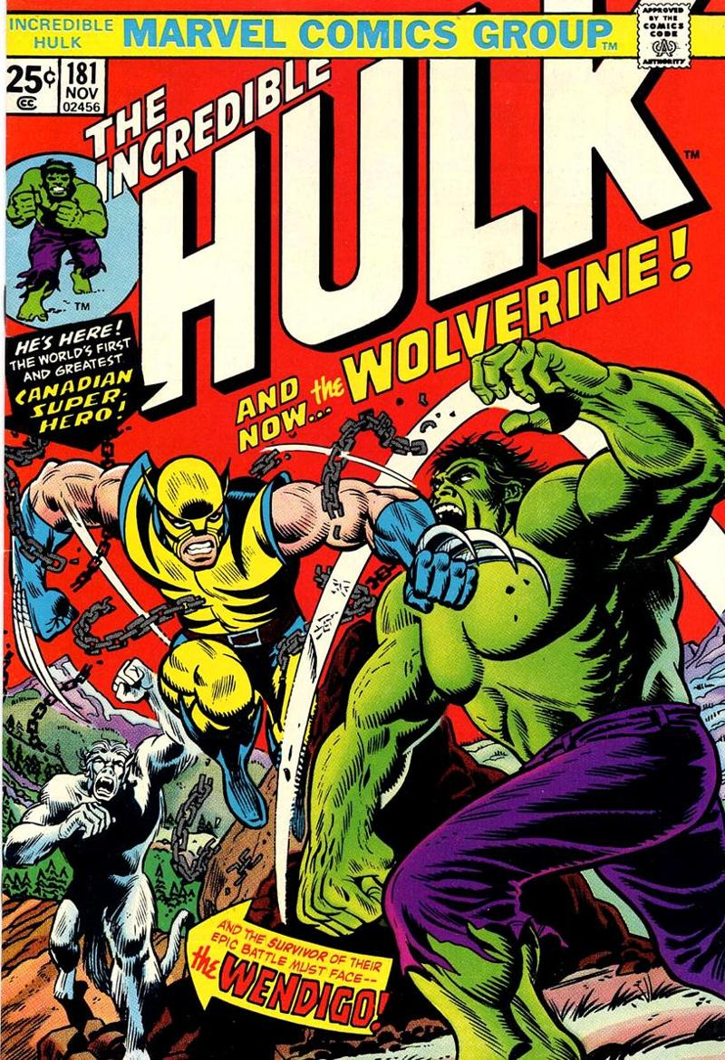 Wolverine's iconic first appearance on the cover of Incredible Hulk #181