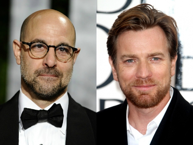 Stanley Tucci and Ewan McGregor are playing a piano and a candelabra