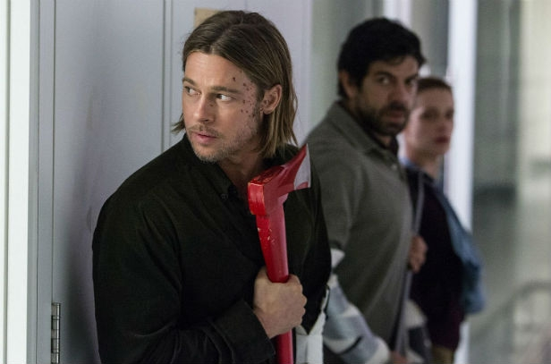 Brad Pitt getting ready to crack some zombie skulls in World War Z