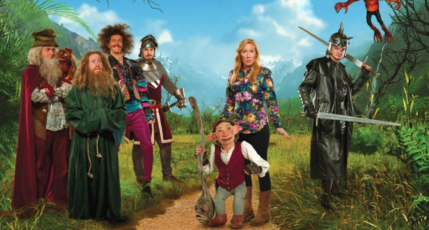 From L-R: Laurence Rickard, Jim Howick, Mathew Baynton, Ben Willbond, Nick the Stick, Elf, Martha Howe-Douglas, Simon Farnaby