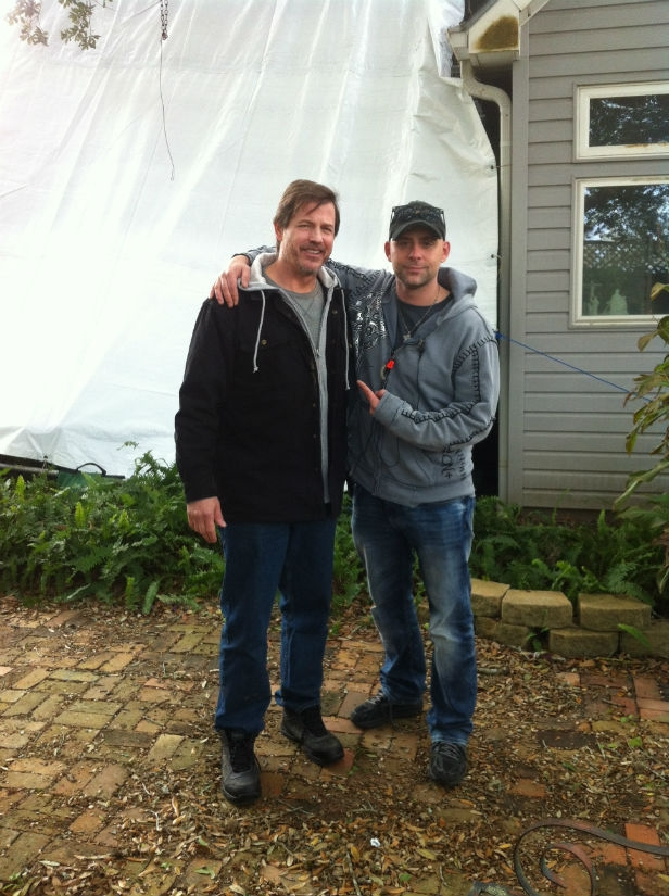 Michael Pare and John Fallon on the set of The Shelter