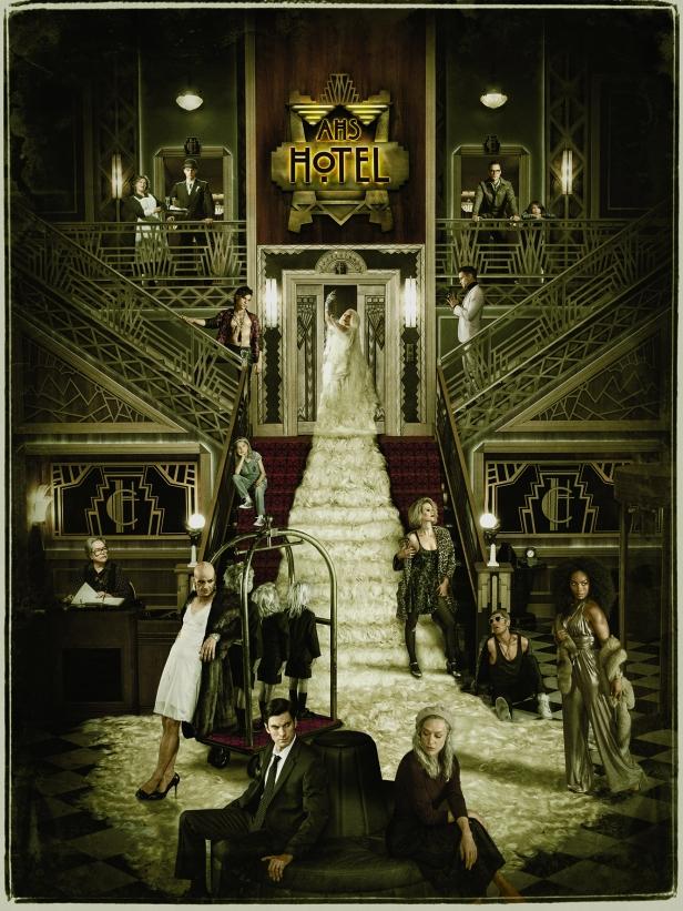 American Horror Story: Hotel.Key art featuring cast
