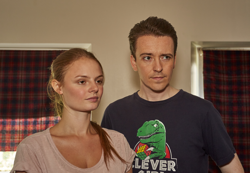 Martin Carmichael and Maya Hedges - characters in 'Cops and Monsters' in Glasgow Flat Location - 18 July 2015