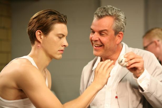 Adam with his creator Victor Frankenstein (Danny Huston)