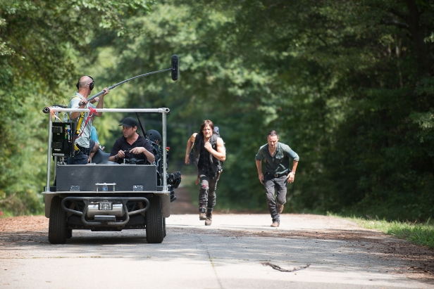 Norman Reedus as Daryl Dixon and Andrew Lincoln as Rick Grimes, Behind the Scenes- The Walking Dead _ Season 6, Episode 10 - Photo Credit: Gene Page/AMC