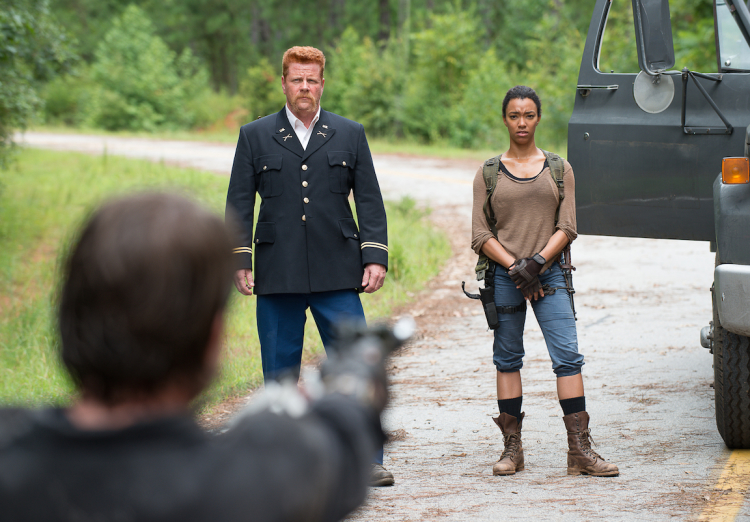 Michael Cudlitz as Abraham, Sonequa Martin-Green as Sasha, and Christopher Berry as Biker - The Walking Dead _ Season 6, Episode 9 - Photo Credit: Gene Page/AMC