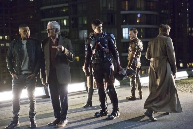 """DC's Legends of Tomorrow -- """"Pilot, Part 1"""" -- Image LGN101d_0430b -- Pictured (L-R): Franz Drameh as Jefferson """"Jax"""" Jackson, Victor Garber as Professor Martin Stein, Brandon Routh as Ray Palmer/Atom, Falk Hentschel as Carter Hall/Hawkman and Arthur Darvill as Rip Hunter -- Photo: Jeff Weddell/The CW -- © 2015 The CW Network, LLC. All Rights Reserved."""