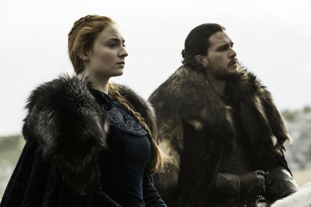 Sophie Turner as Sansa Stark, Kit Harington as Jon Snow