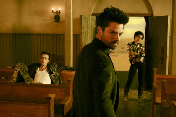 Joseph Gilgun as Cassidy, Dominic Cooper as Jesse Custer, Ruth Negga as Tulip O'Hare; group- Preacher _ Season 1, Gallery - Photo Credit: Matthias Clamer/AMC