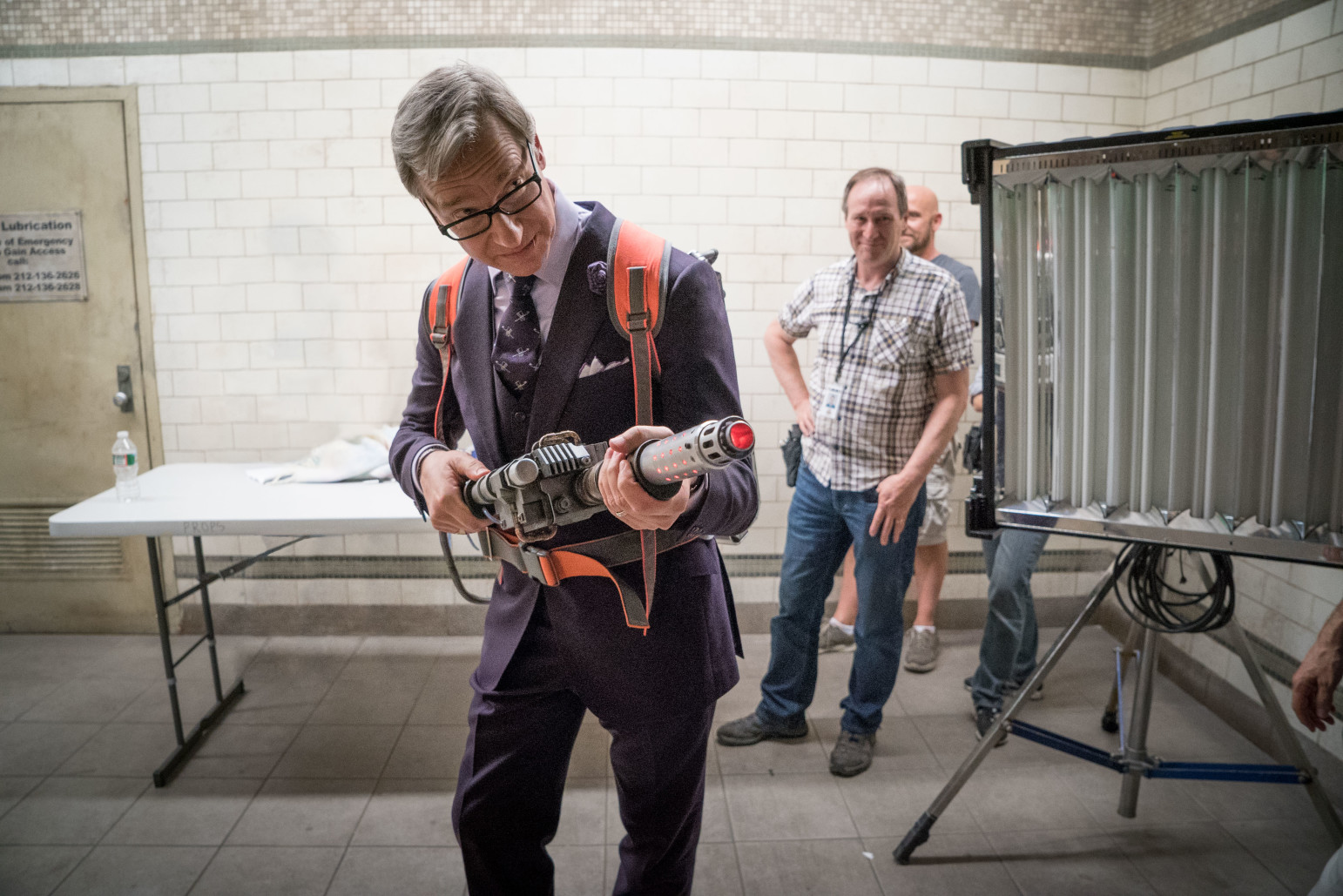 Paul Feig on the set of Ghostbusters