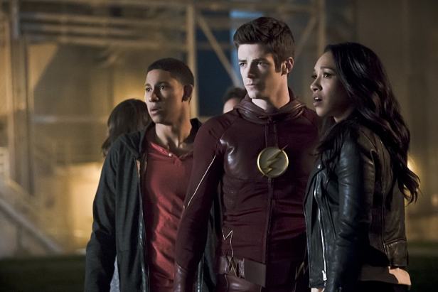 """The Flash -- """"The Race of His Life"""" -- Image: FLA223b_0092b.jpg -- Pictured (L-R): Keiynan Lonsdale as Wally West, Grant Gustin as Barry Allen and Candice Patton as Iris West -- Photo: Katie Yu/The CW -- © 2016 The CW Network, LLC. All rights reserved."""