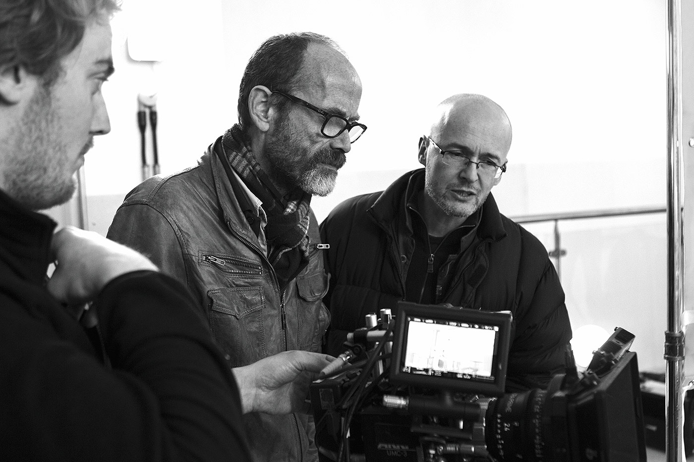 Simon Pummell (right) on the set of Identicals