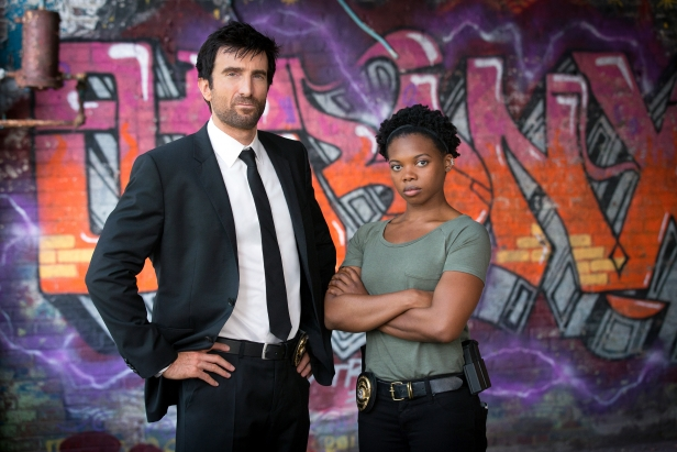 "EXCLUSIVE FOR FIRST USE IN USA TODAY Sharlto Copley  as Christian Walker and Susan Heyward is Deena Pilgrim in the TV series ""Powers."" CREDIT: Bob Mahoney, Sony Pictures Television [Via MerlinFTP Drop]"