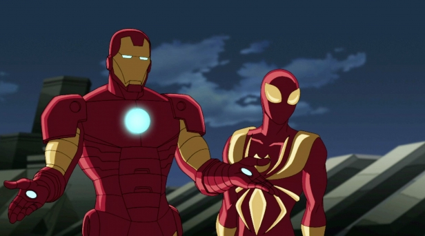 """ULTIMATE SPIDER-MAN - """"Flight of the Iron Spider"""" - When Spider-Man meets Iron Man, one of his favorite super heroes, he receives an Iron Spider suit developed specially for him by Tony Stark. Spidey must learn how to operate the complex suit before jeopardizing his relationship with his fellow teen super heroes, in a new episode of """"Ultimate Spider-Man,"""" SUNDAY, APRIL 22 (11:00 -11:30 a.m., ET/PT) on Marvel Universe on Disney XD. (MARVEL) IRON MAN, IRON SPIDER"""