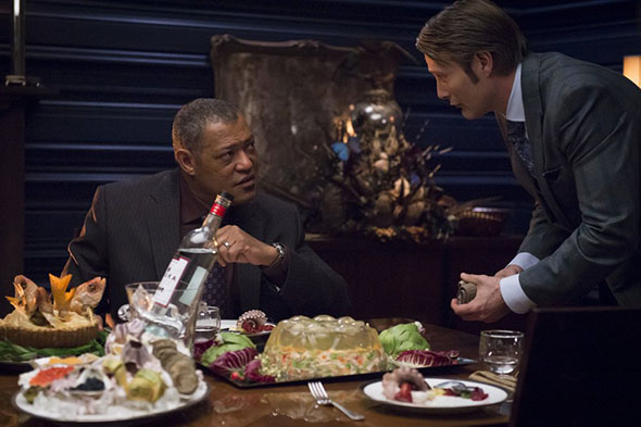 Laurence Fishburne and Mads Mikkelsen prepare to tackle the famous Moebius strip jelly
