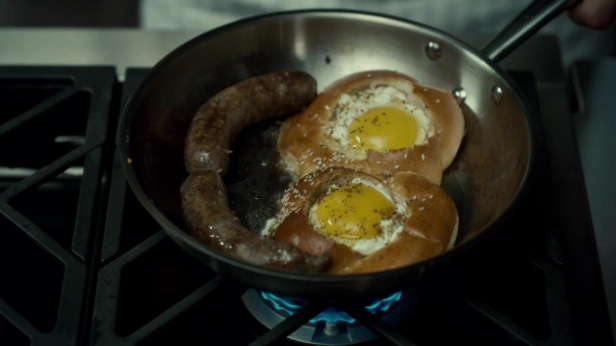 Sausage and Eggs Highlife, as prepared for Abigail Hobbs.