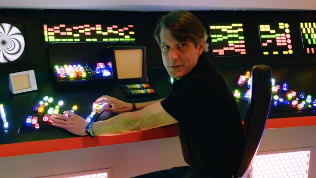 Adam Nimoy revisits the bridge of the Enterprise at the Star Trek: Las Vegas convention in 2015 while filming For The Love Of Spock. (Photo Credit: Kevin Layne / 455 Films)